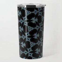 Dark abstract pattern. Fancy flowers. Travel Mug