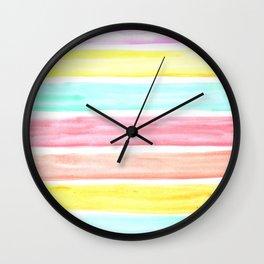 Pastel Watercolor Stripes Wall Clock