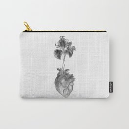 "Heart ""beet"" (black and white version) Carry-All Pouch"