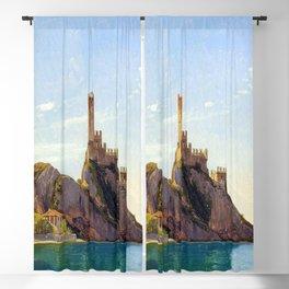 Fritz Petzholdt View of Malcesine at Lake Garda Blackout Curtain