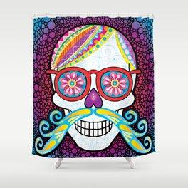 Sugar Skull (Mustachio) Shower Curtain