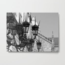 Old South Church Lamps in Black and White by David Hohmann Metal Print