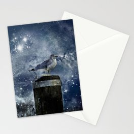 One Legged Seagull in a Snowstorm with Stars in His Eyes Stationery Cards