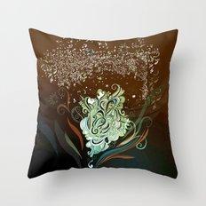 Wind tangle, brown Throw Pillow
