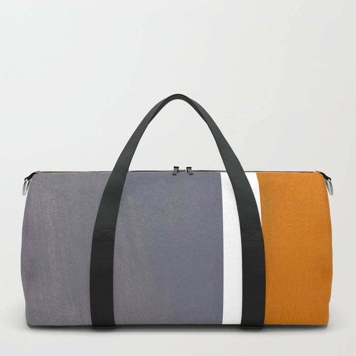 Grey Yellow Ochre Rothko Minimalist Mid Century Abstract Color Field Squares Duffle Bag