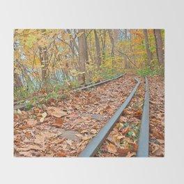 Abandoned Autumn Railroad Throw Blanket