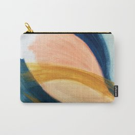 Slow as the Mississippi - Acrylic abstract with pink, blue, and brown Carry-All Pouch