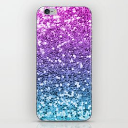 Bright Blue Purple Glitters Sparkling Pretty Chic Bling Background iPhone Skin