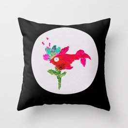 fish with flower Throw Pillow