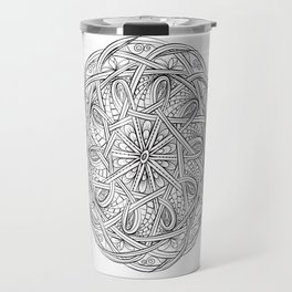 Celtic Knot Mandala Black and White Travel Mug