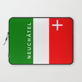 Neuchatel region switzerland country flag name text swiss Laptop Sleeve