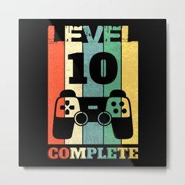 Level 10 Years Boy Man 10th Birthday Metal Print