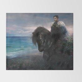 Hiraeth - Knight on Friesian black horse Throw Blanket