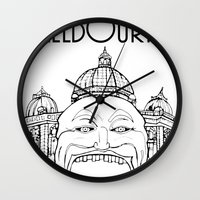 melbourne Wall Clocks featuring Melbourne by Jeremy Buckley illustration