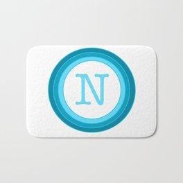 Blue letter N Bath Mat
