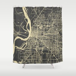 Memphis map yellow Shower Curtain