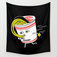 rush Wall Tapestries featuring Quick meal in a rush! by mogumogu