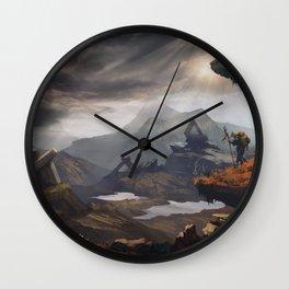 Stone valley | Fantasy landscape concept art Wall Clock