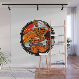 kangaroo firefighter extinguishes fire in forest Wall Mural
