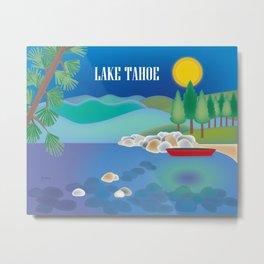 Lake Tahoe - Skyline Illustration by Loose Petals Metal Print