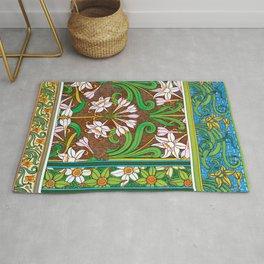 Jonquil Art Nouveau Flower Tiles Rug