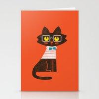 preppy Stationery Cards featuring Fitz - Preppy cat by Picomodi