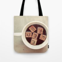 coffee Tote Bags featuring COFFEE by elle moss