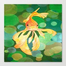 Vermilion Goldfish Swimming In Green Sea of Bubbles Canvas Print