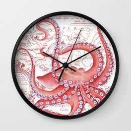 Red Octopus ancient Map White Wall Clock