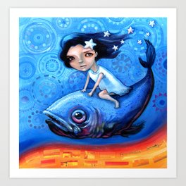 Fishing Girls Art Print