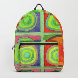 Green Grid filled with Circles and intense Colors Backpack