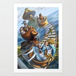 Steampunk Alice in Wonderland Teacups Art Print