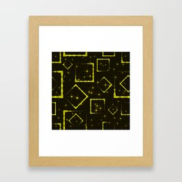 Yellow diamonds and squares at the intersection with the stars on a dark background. Framed Art Print