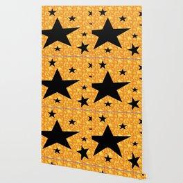 balck star and orange spiral Wallpaper