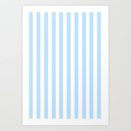 Classic Seersucker Stripes in Blue + White Art Print