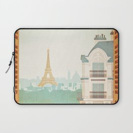 Paris, France - Travel Poster Laptop Sleeve