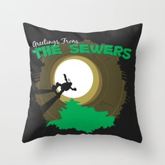 Greetings From the Sewers Throw Pillow