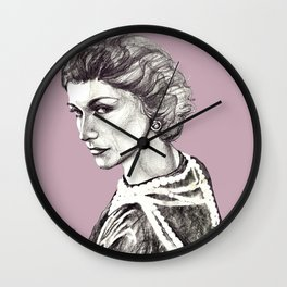 Coco portrait with pearls Wall Clock