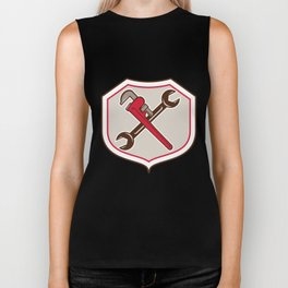 Pipe Wrench Spanner Crossed Shield Cartoon Biker Tank