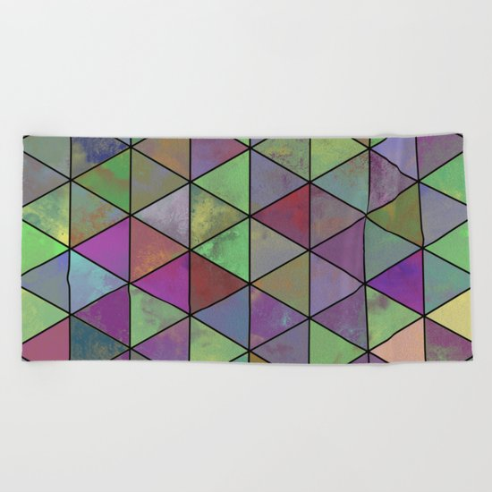 Pastel Triangulation - Abstract, textured, geometric painting Beach Towel