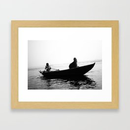 In search of peace, Varanasi. INDIA Framed Art Print