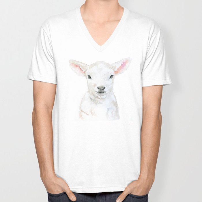 Lamb Face Watercolor Unisex V-Neck