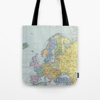 europe Tote Bags featuring Europe Map by From Flora With Love