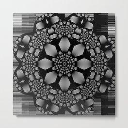 metallic geometric mandala with flower and spirals Metal Print