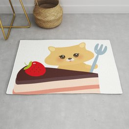 cute kawaii hamster with fork, Sweet cake decorated with fresh Strawberry, pink cream and chocolate Rug