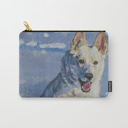 white German Shepherd art runnng in snow from an original painting by L.A.Shepard Carry-All Pouch