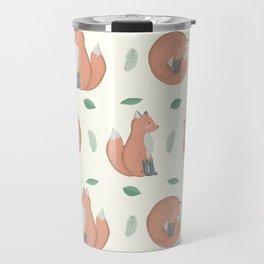 Foxes on Cream Background Travel Mug