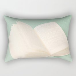 Open Book on Blue Textured Background (Vintage and Retro Still Life Photography)  Rectangular Pillow