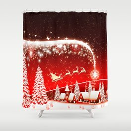 Santa Beautiful Christmas Shower Curtain
