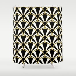 Black White And Gold Classic Art Deco Fan Pattern Shower Curtain